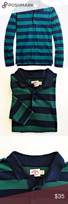 "Brooks Brothers Men's Long Sleeve Rugby Polo Brooks Brothers Men's Long Sleeve Stripe Rugby Polo Size Large. Made from pure cotton. Classic Navy & Green Rugby style polo. In excellent condition. No rips or stains.  Approximate Measurements:  Pit to Pit Flat: 22"" Shoulder Seam to Wrist: 27"" Back of neck to bottom: 29"" Brooks Brothers Shirts Polos"