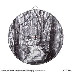 forest path ink landscape drawing dartboard with darts