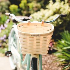 Poketo Woven Wood Bike Basket