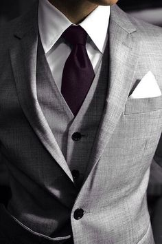 Plum Tie and grey tux, perfect.
