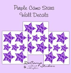Purple Camo Star Wall Decals for teen girls camouflage bedroom, baby hunting nursery, or any childrens geometric room stickers decor #decampstudios