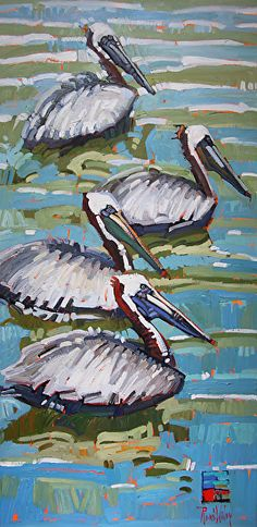 """Pelican Line Up"" - Rene' Wiley-48""x24""x1.5""{ by René Wiley Gallery Oil ~ 48"" x 24"""