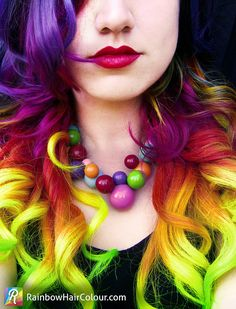 Hand dyed rainbow hair extensions clip in full head set