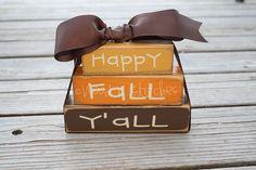 Fall Autumn Primitive Personalized Wood Mini Stacker Block Set . . . Happy Fall Y'all