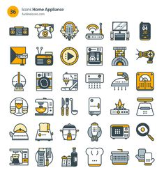 Freebie: Home Appliance And Real Estate Icons (72 Icons, AI, CSH, EPS, SVG, Webfont, Sketch) by Smashing Magazine and Funline Icons. #HomeAppliancesIcon