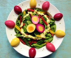 Easter-themed Pickled Beets & Eggs Spinach Salad with dijon chive dressing.