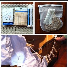 Great fine motor activity for toddlers and preschoolers! Clothesline, clothes pins and laundry bag were each under a dollar at Walmart. First they can learn how to remove the pins from the clothesline, then put them back on. Soon they will be able to pin up other things like, tissues, socks, clothing, pictures, etc. Lots of possibilities!!!