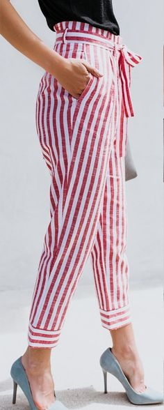 Women s Pink Stripe Ankle Length Casual Pants with Front Sash Pink Fashion fd8db29ef41