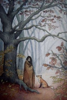 Foxes in my heart — roxie-hurt: girl in the woods by ~moussee Art And Illustration, Fuchs Illustration, Creative Illustration, Fairytale Art, Fox Art, Whimsical Art, Art Inspo, Painting & Drawing, Illustrators