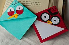 Angry birds origami for the end of the school year Crafts For Teens, Fun Crafts, Paper Crafts, Book Making, Card Making, Festa Angry Birds, Corner Bookmarks, Paper Bookmarks, Bird Book