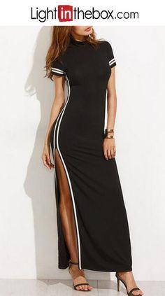 Women's Bodycon Little Black Dress - Color Block, Split Maxi