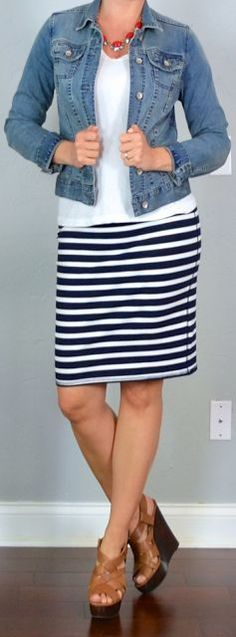 Outfit Posts: outfit post: jean jacket, white t-shirt, striped jersey pencil skirt, brown wedges