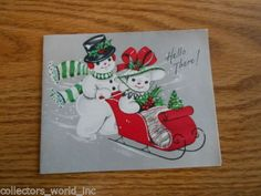 Snowman-Couple-in-Sleigh-Hats-Holly-1950s-Vintage-used-Christmas-Greeting-Card