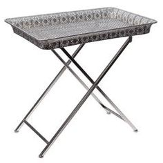 METAL TRAY TABLE IN SILVER COLOR 57X36X56