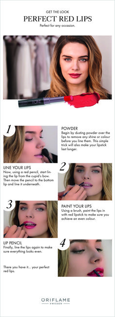 Red lips are always in style but when applying such a bold colour, it's easy to make little mistakes. In our exclusive tutorial, we show you how to get the perfect red lips for any occasion!