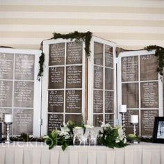 Use windows as a seating chart for a rustic wedding!