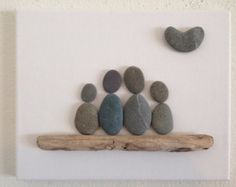Beach Stone Artwork/ Pebble Art/ Canvas Art/