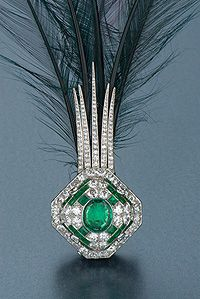 Cartier emerald and diamond aigrette headpiece from turn of the century.