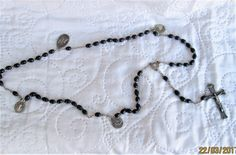 Vintage Black Rosary, silver and wood items, religious items, Lourdes items, blessed mother, sacred heart, latin rosaries by BoutiqueBouBou on Etsy