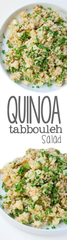 Replace the bulgar wheat with quinoa for a refreshing tabbouleh that's naturally gluten free and oh so healthy! We love this tasty Quinoa Tabbouleh!