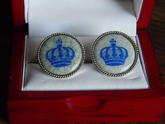 Vintage Swank Royal Copenhagen Porcelain Crown Cufflinks