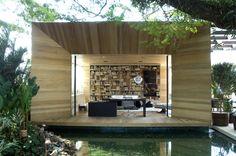 glass box accompanied by wood