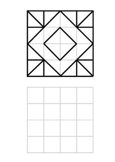further patterns in 4 × 4 grid - Bildung Graph Paper Drawings, Graph Paper Art, Visual Perceptual Activities, Math Activities, Barn Quilt Designs, English Worksheets For Kids, Paper Crafts Origami, Butterfly Crafts, English Paper Piecing