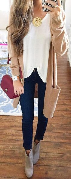 bb873bf0aa  thanksgiving  outfits Beige Cardigan    Gold Monogrammed Necklace    White  V-