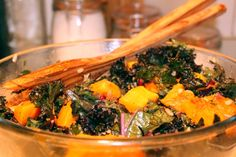 Cleansing Salad of kale, butternut squash, pomegranate, and sunflower ...
