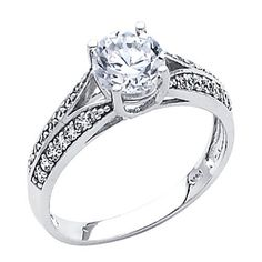 .925 Sterling Silver Round-cut CZ Cubic Ziconia Solitaire with side-stone Ladies Wedding Wedding Engagement Ring Band (Size 5 to 9) The World Jewelry Center. $32.00. Fashionable and elegant styling. Made From Beautiful .925 Sterling Silver. Promptly Packaged with Free Gift Box and Gift Bag. Special manufacturing process held to ensure less wear and tarnish