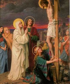 """Saint John, the apostle and evangelist, knew Jesus intimately. When I think of Saint John, I immediately think of this scene at the foot of the cross. What has me drawn to horrific part of Jesus' life? The conversation between our Savior, the Blessed Mother and John is the focal point: """"Behold, your mother!"""" (Jn 19:27). Although the Church also understands this to mean Mary is our mother as well, I witness here the deep love and trust which exists between Jesus and John. [feast day - Dec 27]"""