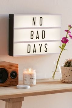 Cinema Box LED Light no bad days happy inspiration. Click the link to shop right… Citations Lightbox, Lightbox Quotes, Lightbox Sign, Mini Lightbox, My New Room, My Room, Dorm Room Setup, Kino Box, Cinema Box