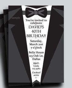 Tuxedo 50th Birthday Party Ticket Invitation Printable Ticket