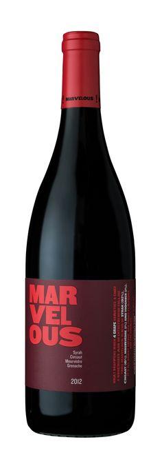 The new Marvelous Red 2012 SYRAH (92%),  CINSAULT (6%), MOURVÈDRE (1%)   GRENACHE (1%) Wine Packaging, Wines, Amp, Bottle, Blue, Flask