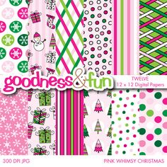 Pink Whimsy Christmas Digital Papers - adorable girly Christmas designs for paper goods, invitiations, card making, scrapbooking and more.