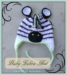 I made this zebra hat for my grandson who is due in late november. I just love it! The pattern is free and can be found here: http://www.repeatcrafterme.com/2013/06/crochet-zebra-hat-pattern.html