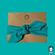 faixa turbante laço turquesa