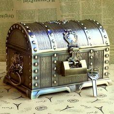 Caliente la venta de antigüedades pirata cofre del tesoro grande de dos pisos caja de almacenamiento caja de joyería de Metal con cerradura regalo de boda 3 estilos en Bolsas y Estuches de Cosméticos de Equipaje y bolsas en AliExpress.com | Alibaba Group