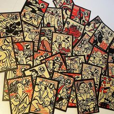 5 Japanese character game cards illustrations black white red mixed media art scrap paper projects Old Vintage supplies lot