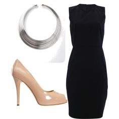 Nude shoes with a black pencil dress. Makes your body look long and thin.