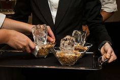 """A (nonedible) serving preparation that the team calls, logically, """"ice and rocks.""""     Photo: Jed Egan"""