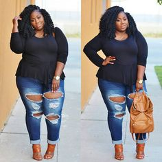Taking your ordinary jeans up a notch by taking distressed fashion to the max! Perfect Pair| Now on the blog! Jeans: @rainbowshops #linkinbio #plussizefashion #psfashion #fullfiguredfashion #bbw #bbwlove #whatiwore #distressedjeans #destroyedjeans  #rainbowstyle #flyfashiondoll #fashionforwardplus #bbbg #bgki #psblogger #lablogger #thickthighssavelives  #lacenleopard #servingchocolate