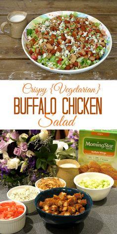 Crispy {Vegetarian} Buffalo Chicken Salad | The Good Hearted Woman