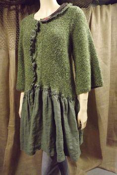 Lagenlook Tunic Ruffled One Size Emerald by bluemermaiddesigns