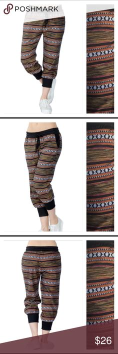 "Relax in Style Trendy Tribal Cropped Joggers Relax in style in these trendy tribal cropped joggers. Elastic drawstring waistband and banded ankles. Cotton with a little spandex stretch. Wear with tour favorite solid tee/tank. WOW XS - inseam 20.5""/hips laying flat 16"" S-inseam 21""/hips laying flat 17"" M-inseam 21.5""/hips laying flat 18"" L- inseam 22""/hips laying flat 19"" XL-inseam 22.5""/hips laying flat 20"" Adam Levine Pants Track Pants & Joggers"