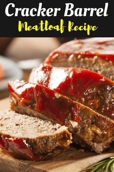 Cracker Barrel's Meatloaf Recipe is classic comfort food made with ground beef, onions, bell pepper, cheddar cheese, Ritz crackers and a sweet, savory glaze on top! Good Meatloaf Recipe, Meat Loaf Recipe Easy, Best Meatloaf, Meatloaf Recipes, Meat Recipes, Cooking Recipes, Dinner Recipes, Burger Recipes