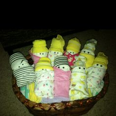 Diaper babies! Baby shower gift! Baby socks for hats work the best!