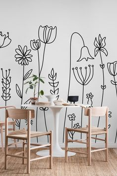 Apr 2020 - Cape Wildflowers wall mural from happywall Creative Wall Painting, Wall Painting Decor, Creative Walls, Diy Wall Art, Wall Decor, Room Decor, Tape Wall Art, Minimalist Wallpaper, Minimalist Drawing
