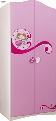 Szafa dziecięca Princess  Kolekcja mebli dziecięcych Princess zawiera szereg mebli do wyposażenia pokoju dziecięcego dla dziewcząt. Wiele z tych mebli dostępne jest dodatkowo w kilku opcjach, podobnie jak przedstawiana aktualnie szafa dziecięca.