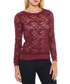 Another great find on #zulily! Burgundy Sheer Lace Ribbed-Hem Top #zulilyfinds
